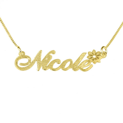 Brushed 14k Gold Name Necklace with A Flower - jeweleen - 1