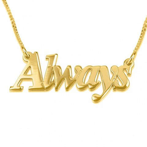 14K Gold Thicker Font Name Necklace - jeweleen - 1
