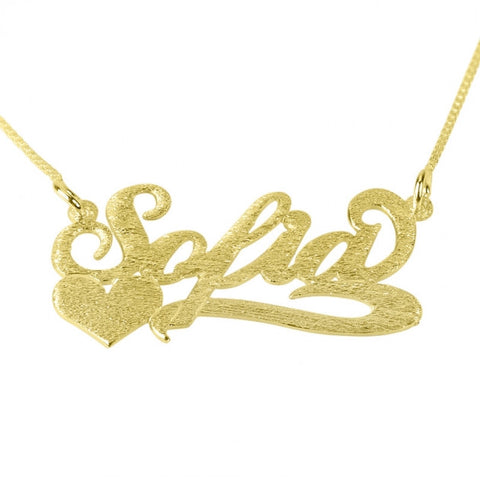 Brushed 14k Gold Carrie Name with Side Heart - jeweleen - 1