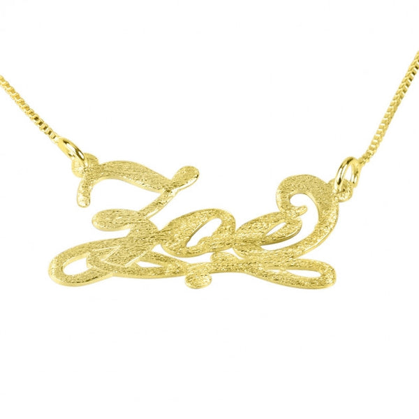 Brushed 14k Gold Bianca Line Name Necklace - jeweleen - 1