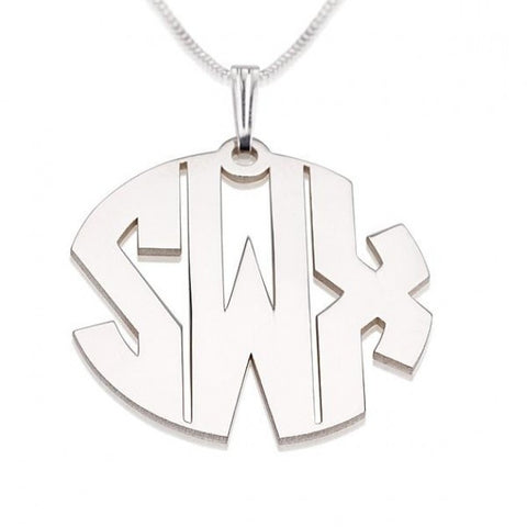 Sterling Silver Capital 3 Letters Monogram Necklace - jeweleen - 1
