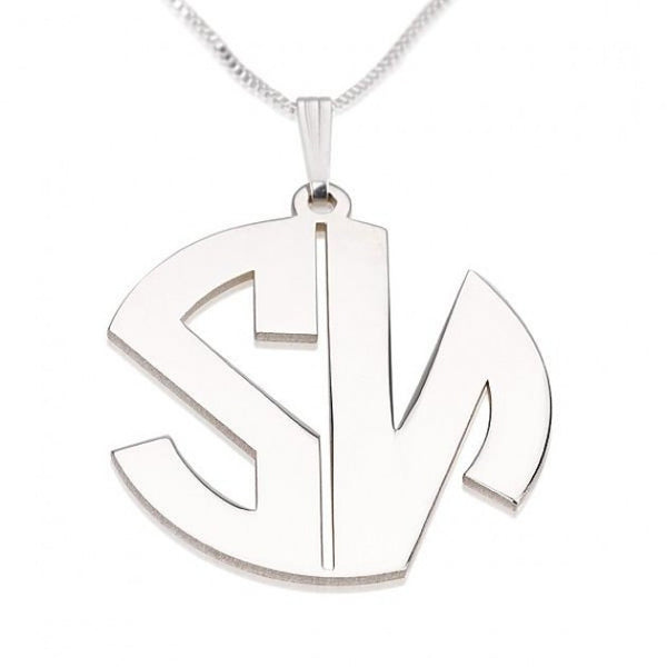 Sterling Silver Capital 2 Letters Monoram Necklace - jeweleen - 1
