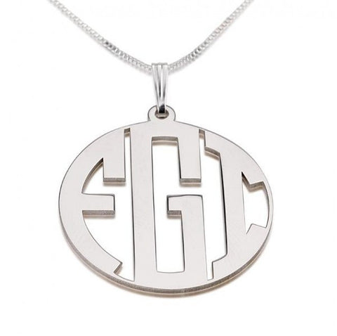 Sterling Silver Capital Border 3 Letters Monogram Necklace - jeweleen - 1