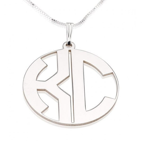 Sterling Silver Capital Border 2 Letters Monogram Necklace - jeweleen - 1