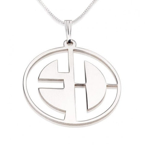 Sterling Silver Capital 2 Letters Negative Font Monogram Necklace - jeweleen - 1