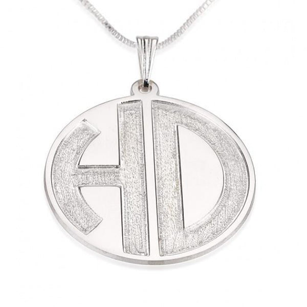 Sterling Silver 2 Sparkling Letters Monogram Necklace - jeweleen - 1