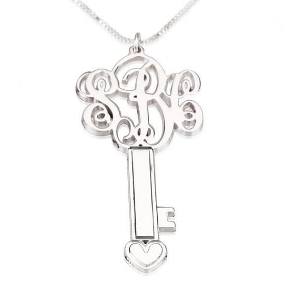 Sterling Silver 3 Initials Key Monogram Necklace - jeweleen - 1