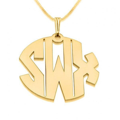 24k Gold Plated 3 Letters Capital Monogram Necklace - jeweleen - 1