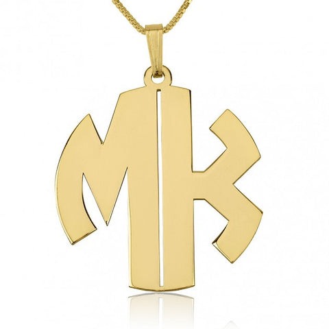 24k Gold Plated 2 Letters Capital Monogram Necklace - jeweleen - 1