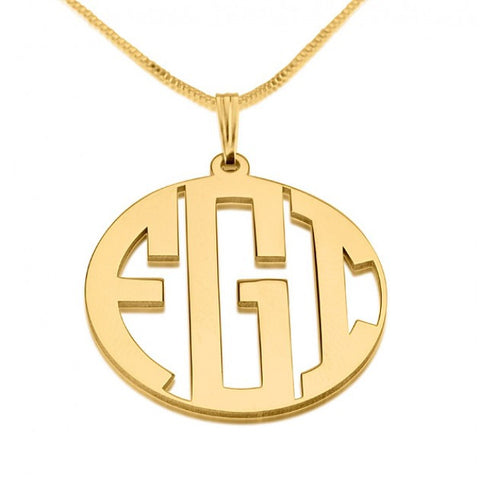 24k Gold Plated 3 Letters Capital Border Monogram Necklace - jeweleen - 1