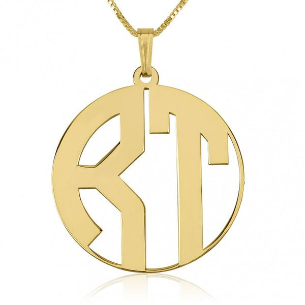 24k Gold Plated 2 Letters Capital Border Monogram Necklace - jeweleen - 1