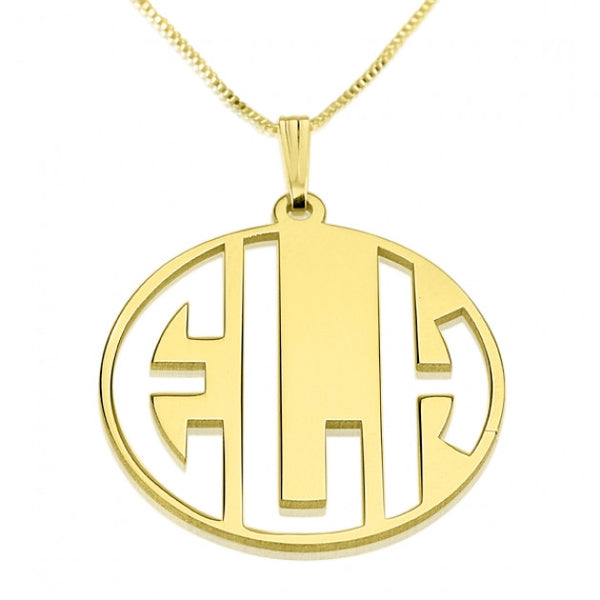 24k Gold Plated 3 Capital Letters Negative Font Monogram Necklace - jeweleen - 1