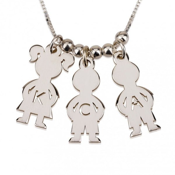 Sterling Silver Mother's Necklace Boy And Girl - jeweleen - 1