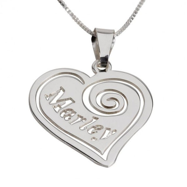 Sterling Silver Heart Pendant with Name - jeweleen - 1