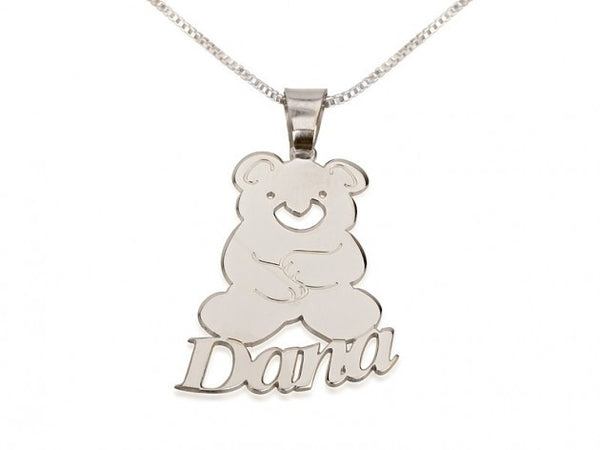 Sterling Silver Teddy Bear Pendant with Name - jeweleen - 1
