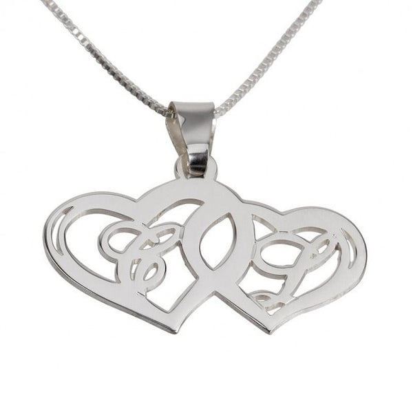 Sterling Silver Initials Necklace with Two Hearts - jeweleen - 1
