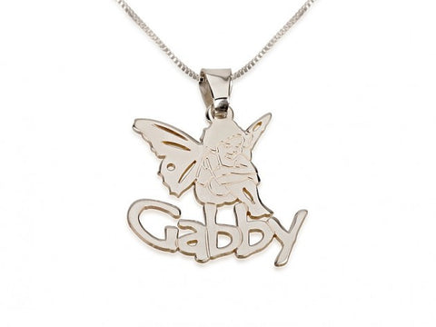 Sterling Silver Angel Pendant with Name - jeweleen