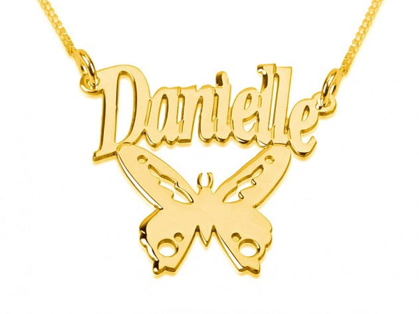 24k Gold Plated Butterfly Pendant with Name - jeweleen - 1