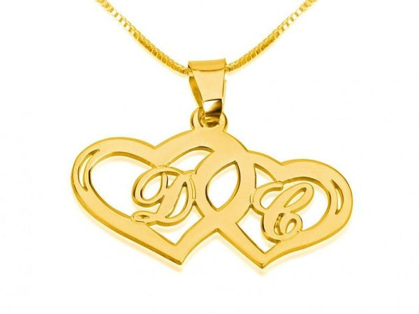 24k Gold Plated Initials Necklace with Two Hearts - jeweleen - 1