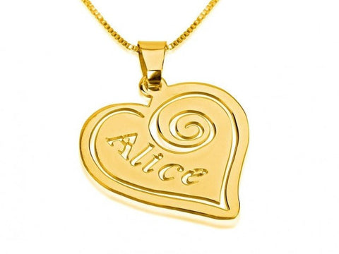 14k Gold Heart Pendant with Name - jeweleen - 1