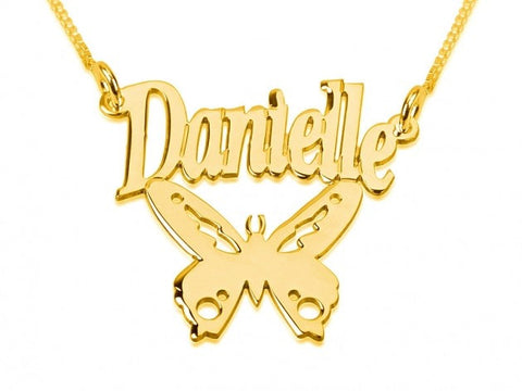 14k Gold Butterfly Pendant with Name - jeweleen - 1