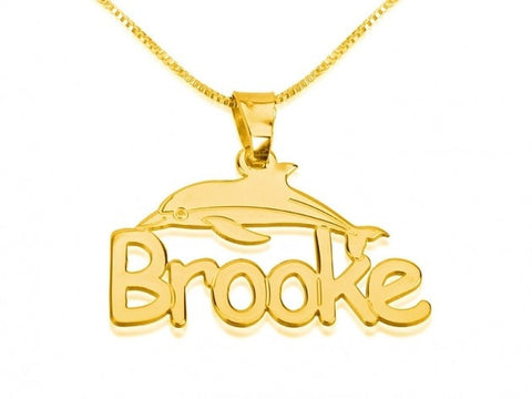 14k Gold Dolphin Pendant with Name - jeweleen - 1