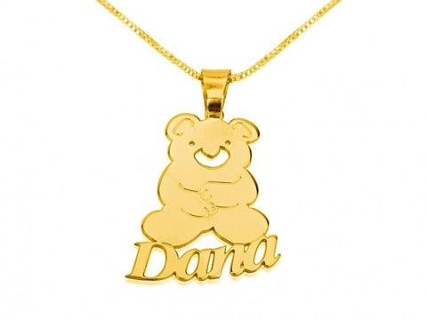 14k Gold Teddy Bear Pendant with Name - jeweleen - 1