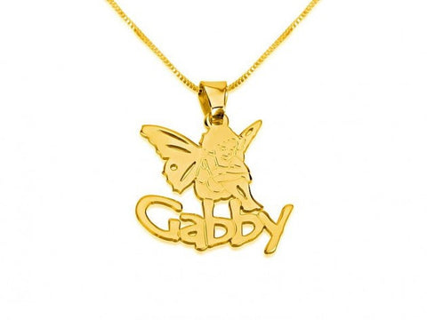 14k Gold Angel Pendant with A Name - jeweleen - 1