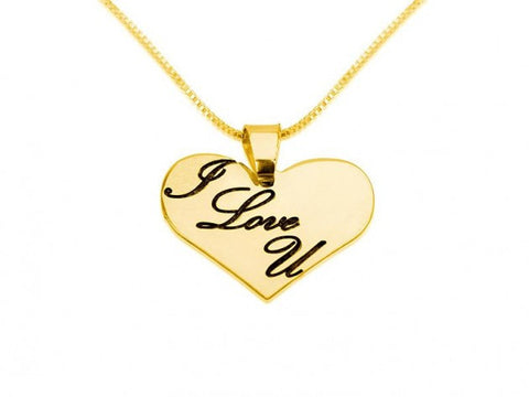 14k Gold Heart Necklace with I LOVE YOU Engraved On It - jeweleen - 1