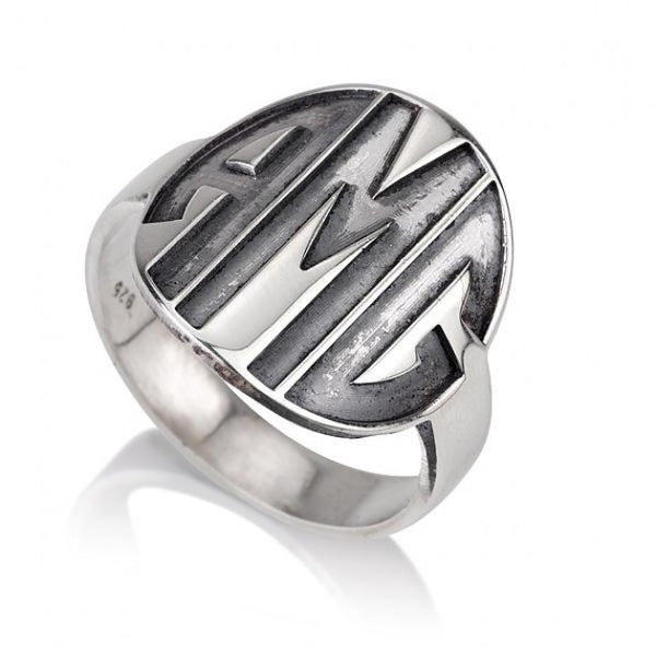 Sterling Silver Sparkling Capital Font Monogram Ring - jeweleen