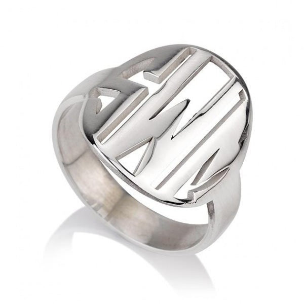 Sterling Silver Cut Out Made Monogram Ring - jeweleen
