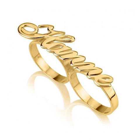 24K Gold Plated Alegro Two Finger Name Ring - jeweleen