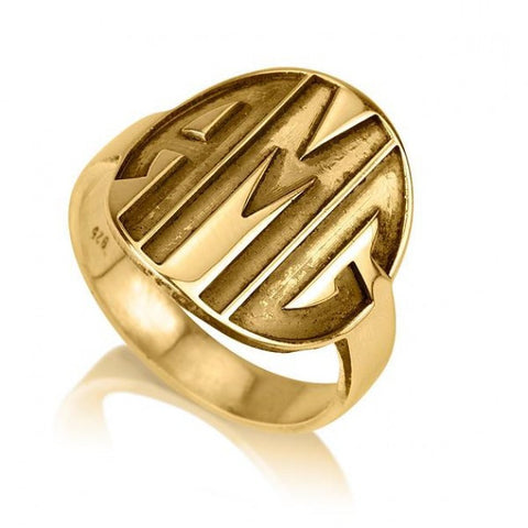 24K Gold Plated Sparkling Capital Font Monogram Ring - jeweleen