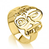 24K Gold Plated Interlocking Three Initials Monogram Ring - jeweleen
