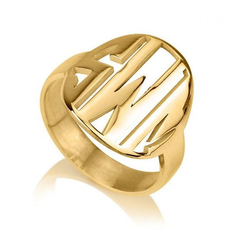 24K Gold Plated Cut Out Made Monogram Ring - jeweleen