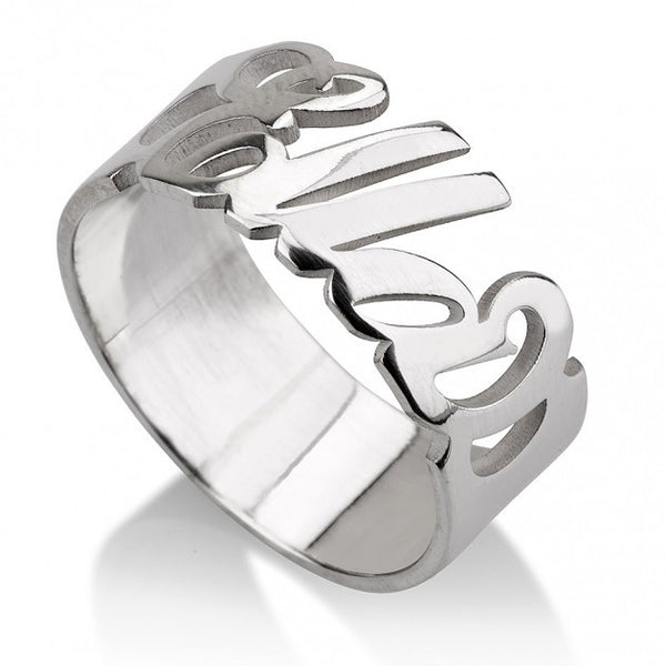 Sterling Silver Carrie Name Ring - jeweleen