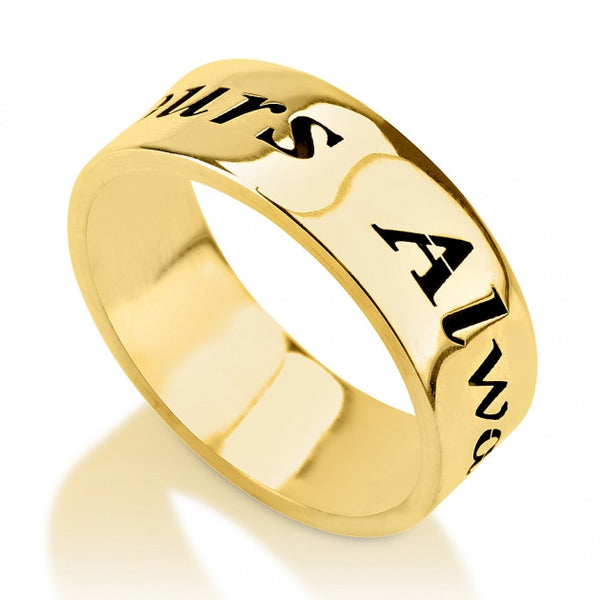 14k Gold Hand Writing Font Name Ring - jeweleen
