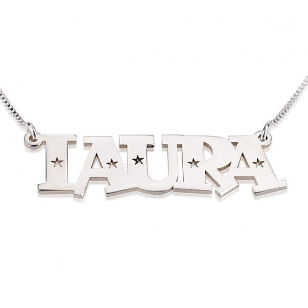Sterling Silver Stars Name Necklace - jeweleen - 1