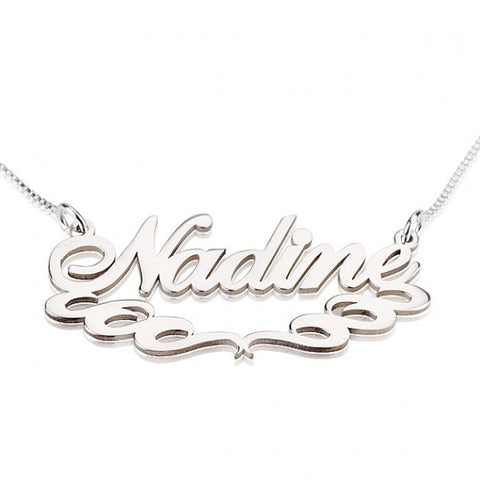 Sterling Silver Special Curles Name Necklace - jeweleen - 1