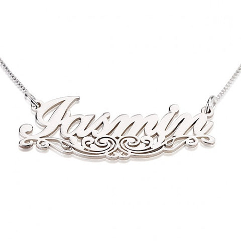 Sterling Silver Unique Line Name Necklace - jeweleen - 1