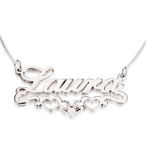 Sterling Silver Hearts  Name Necklace - jeweleen - 1