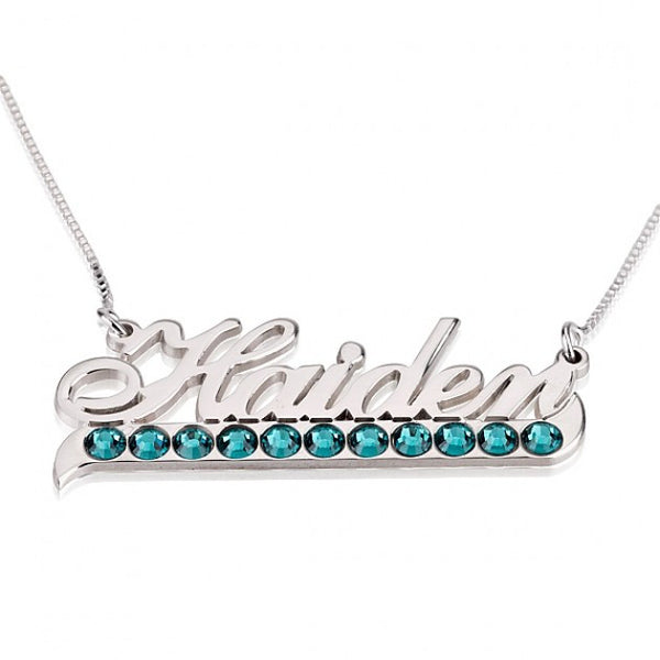 Sterling Silver Color Name Necklace with Swarovski Crystal - jeweleen - 1
