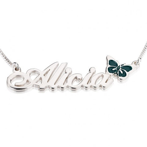 Sterling Silver Color Name Necklace with Butterfly - jeweleen - 1