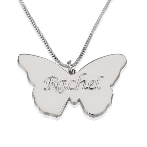 Sterling Silver Butterfly Pendant with Engrave Name - jeweleen - 1