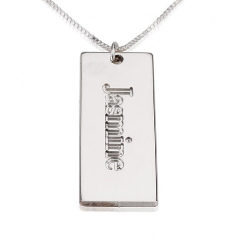 Sterling Silver Nameplate Pendant - jeweleen - 1