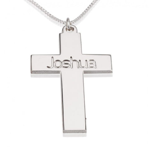Sterling Silver Cross Necklace with Name - jeweleen - 1