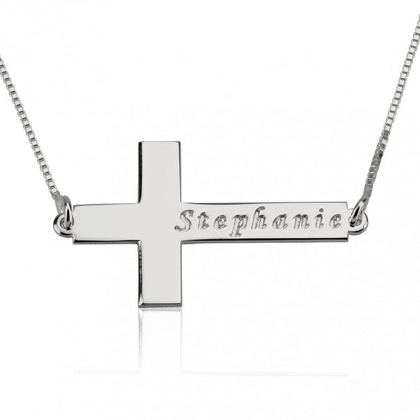 Sterling Silver Sideways Cross Necklace with Name - jeweleen - 1