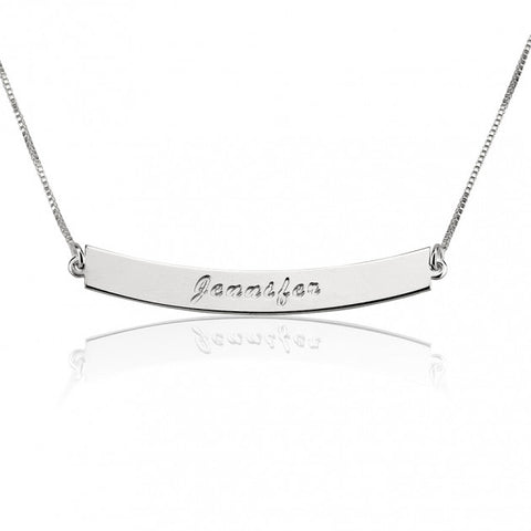 Sterling Silver Curved Bar Necklace with Name - jeweleen - 1
