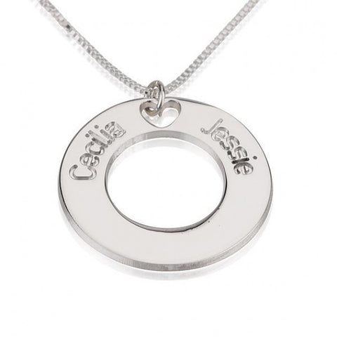 Sterling Silver Circle Necklace with Two Names - jeweleen - 1