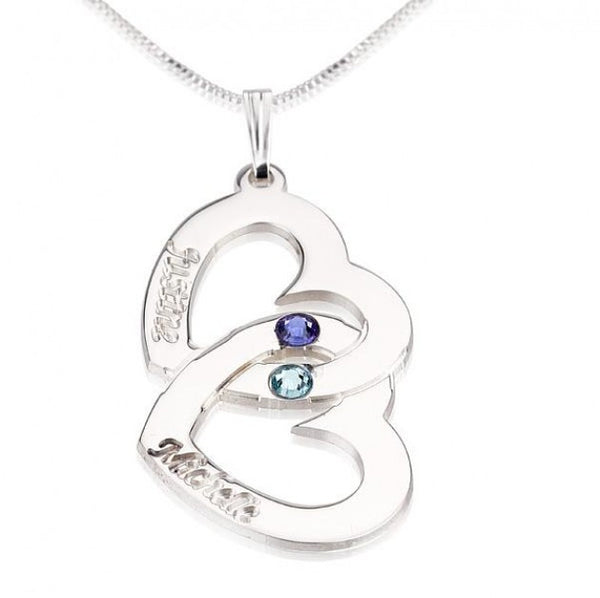 Sterling Silver Two Hearts Swarovski Crystal with Two Names - jeweleen - 1